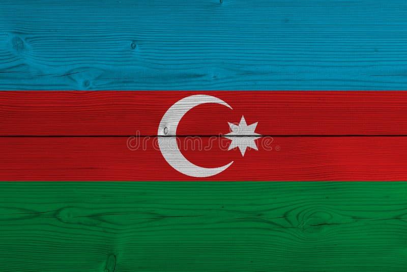 Bandera de Azerbaijan pintada en tablón de madera viejo foto de archivo libre de regalías