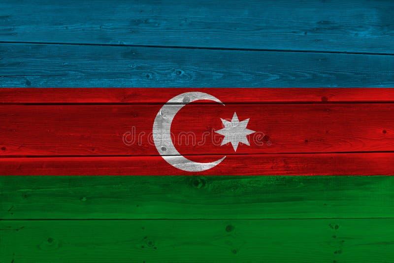 Bandera de Azerbaijan pintada en tablón de madera viejo fotos de archivo libres de regalías