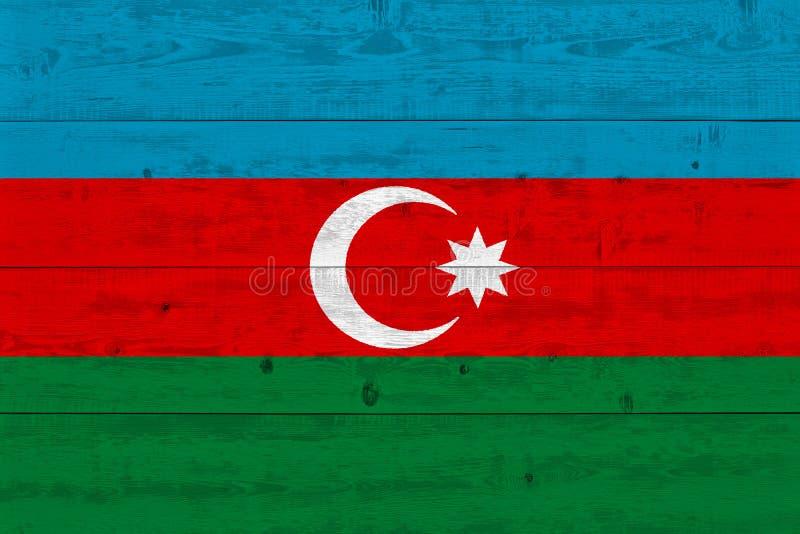 Bandera de Azerbaijan pintada en tablón de madera viejo fotos de archivo