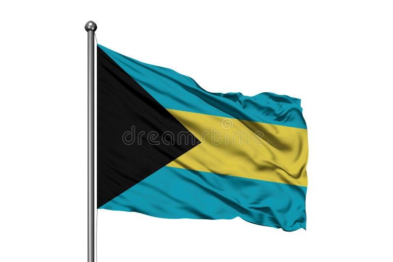 Bandera de Bahamas que agitan en el viento, fondo blanco aislado Bandera bahamense libre illustration