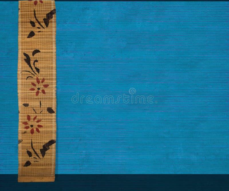 Bandera de bambú de la flor en azul imágenes de archivo libres de regalías