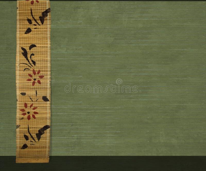 Bandera de bambú de la flor en fondo verde oliva imágenes de archivo libres de regalías