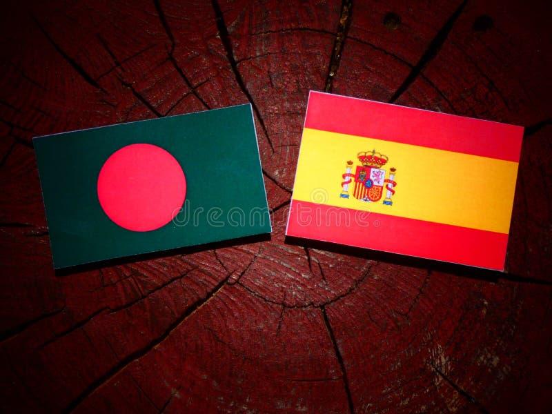 Bandera de Bangladesh con la bandera española en un tocón de árbol foto de archivo