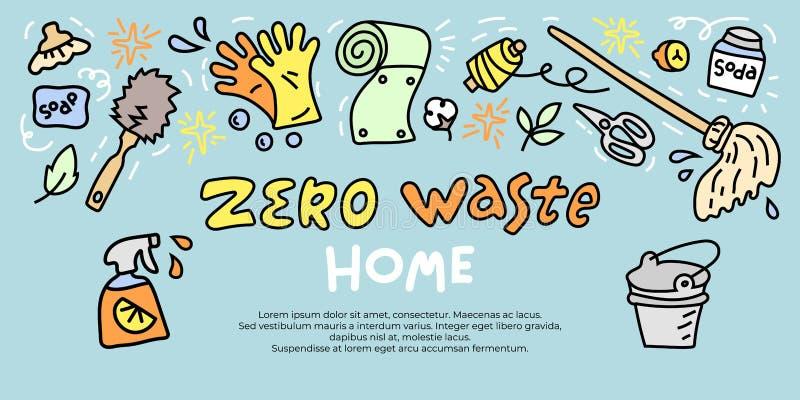 Bandera de basura cero con objetos de doodle para el hogar stock de ilustración