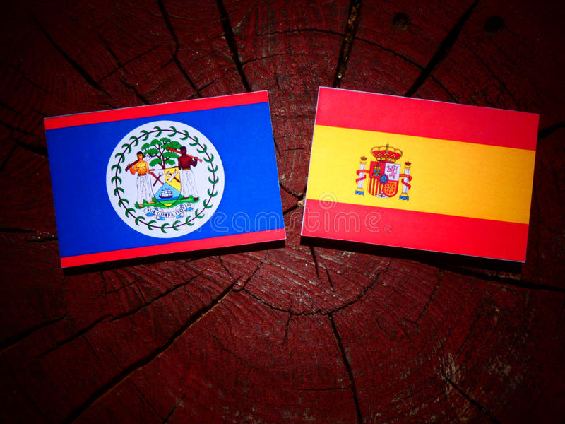 Bandera de Belice con la bandera española en un tocón de árbol fotos de archivo