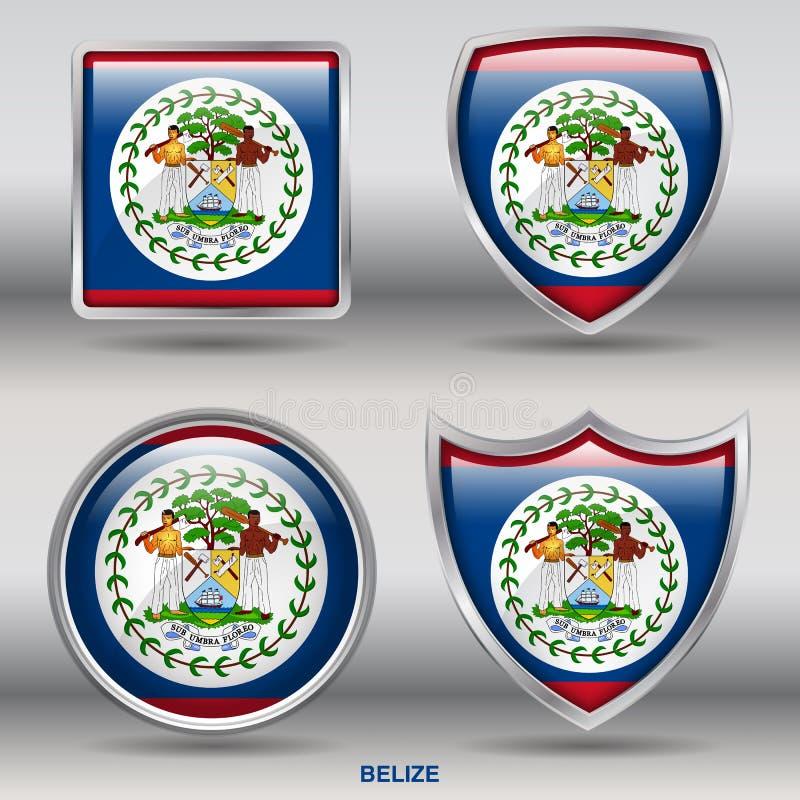 Bandera de Belice en la colección de 4 formas con la trayectoria de recortes ilustración del vector