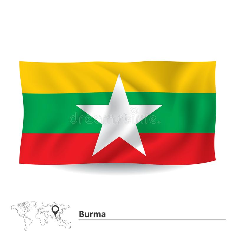Bandera de Birmania stock de ilustración