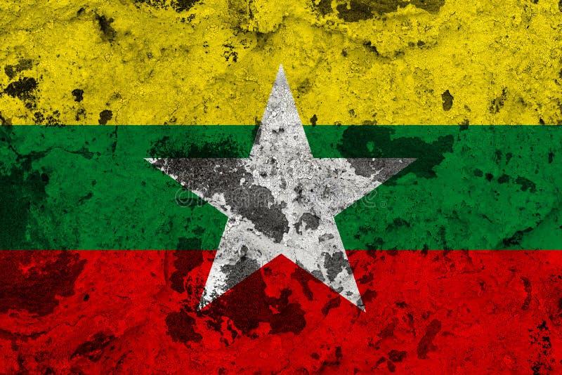 Bandera de Birmania en la pared vieja ilustración del vector