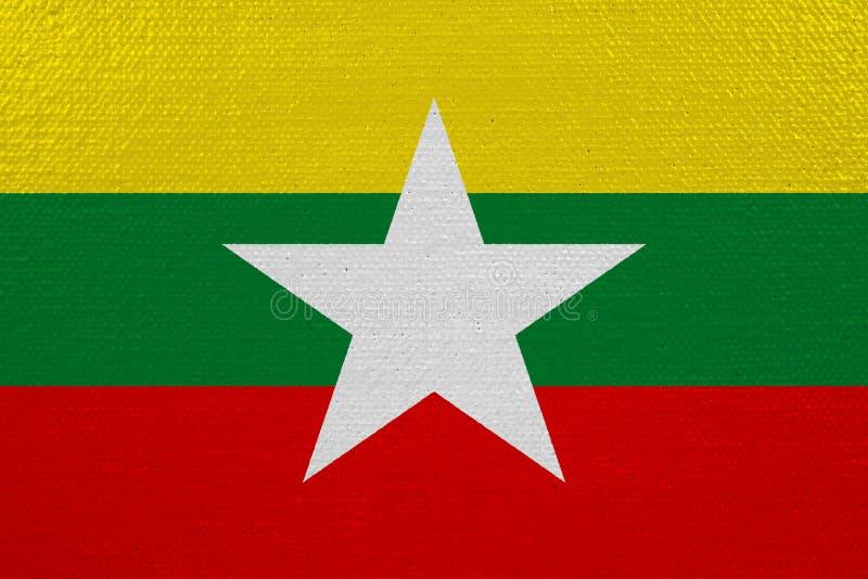 Bandera de Birmania en lona ilustración del vector