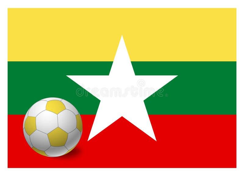 Bandera de Birmania y balón de fútbol libre illustration