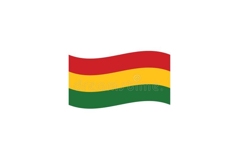 Bandera de Bolivia que agita el escudo de armas del símbolo nacional ilustración del vector