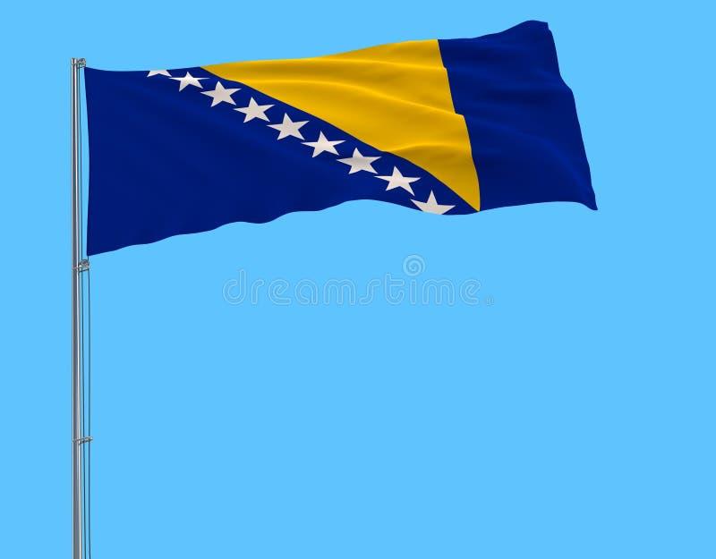 Bandera de Bosnia y Herzegovina en una asta de bandera que agita en el viento en un fondo azul, del aislante representación 3d libre illustration