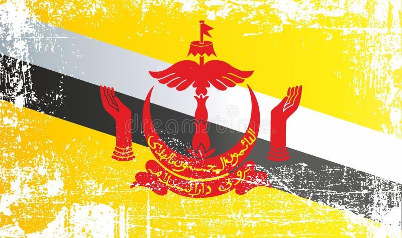 Bandera de Brunei, nación de Brunei, el domicilio de la paz Puntos sucios arrugados ilustración del vector