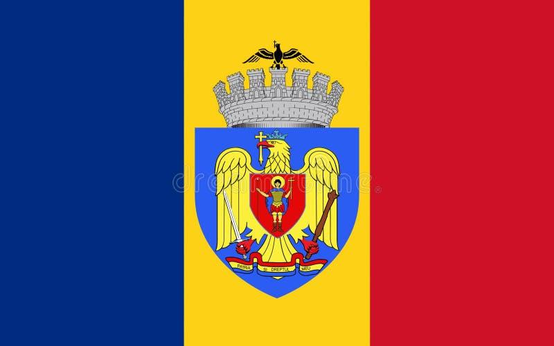 Bandera de Bucarest, Rumania stock de ilustración