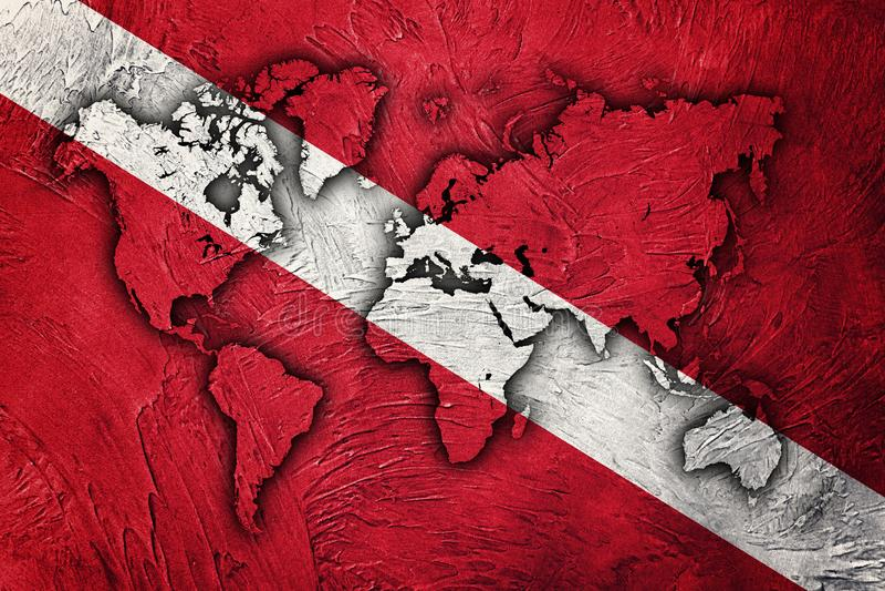 Bandera de Buceador abajo, Mapa Mundial, bandera de Scuba imagen de archivo libre de regalías