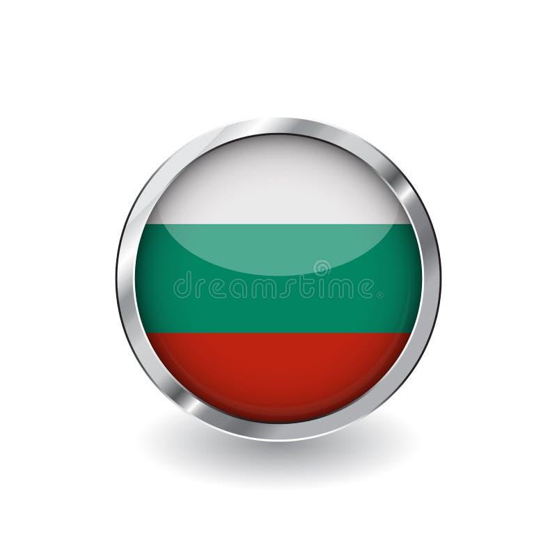 Bandera de Bulgaria, botón con el marco metálico y la sombra icono del vector de la bandera de Bulgaria, insignia con efecto bril ilustración del vector