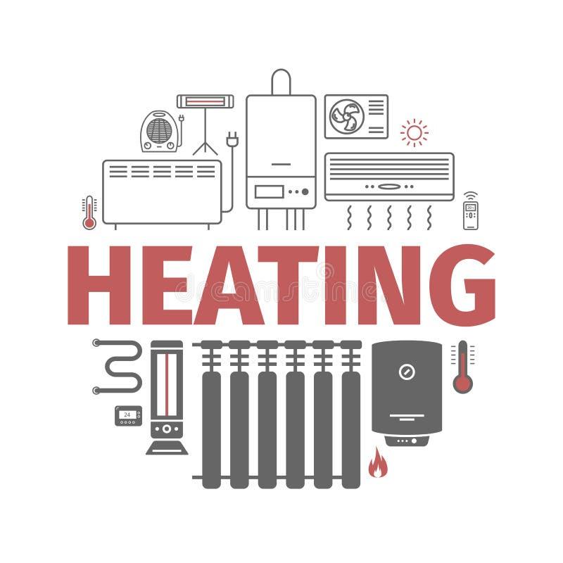 Bandera de calefacción y de enfriamiento Ventilación y ejemplo de condicionamiento del vector ilustración del vector