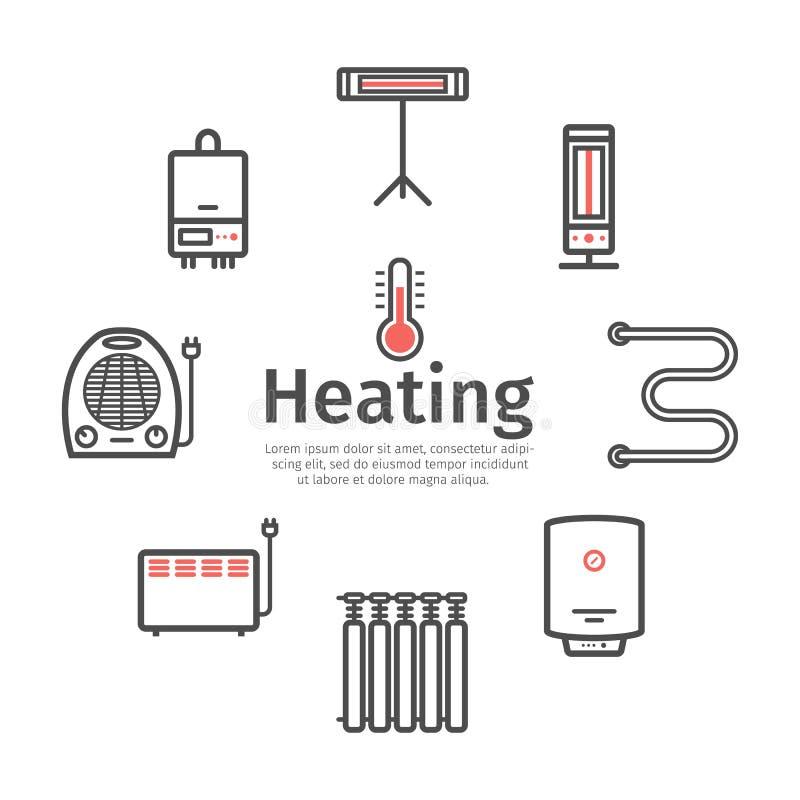 Bandera de calefacci?n y de enfriamiento Ventilaci?n y ejemplo de condicionamiento del vector stock de ilustración