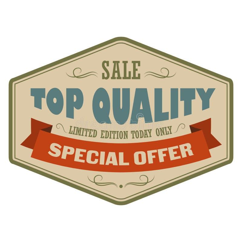 Bandera de calidad superior del vintage de la venta ilustración del vector