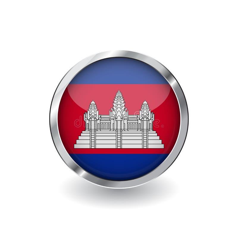 Bandera de Camboya, botón con el marco metálico y la sombra icono del vector de la bandera de Camboya, insignia con efecto brilla ilustración del vector