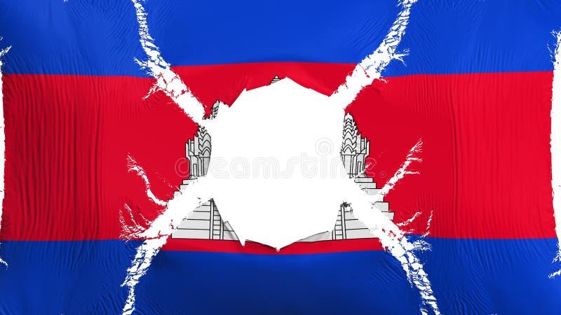 Bandera de Camboya con un agujero ilustración del vector