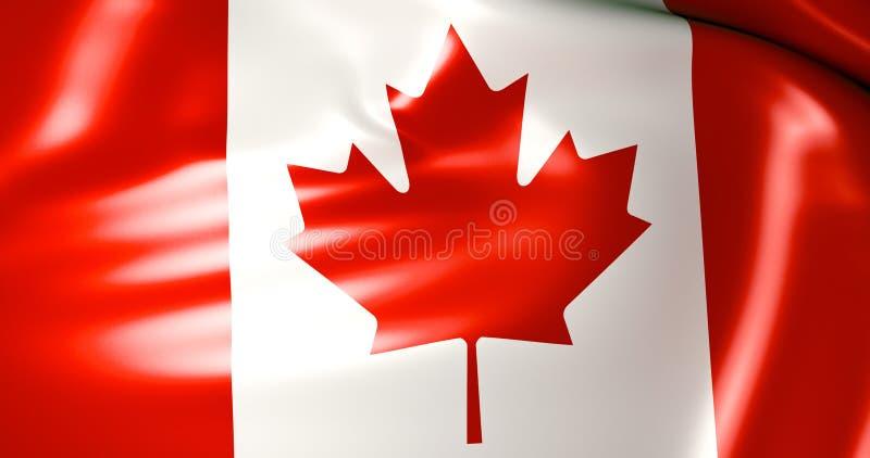 Bandera de Canadá en el viento ilustración 3D calidad 4K ilustración del vector
