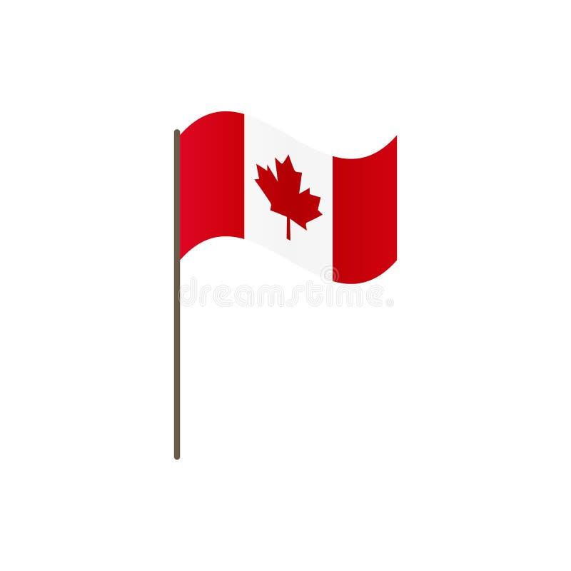 El Mapa De Canadá En Bandera Nacional Colorea El Icono