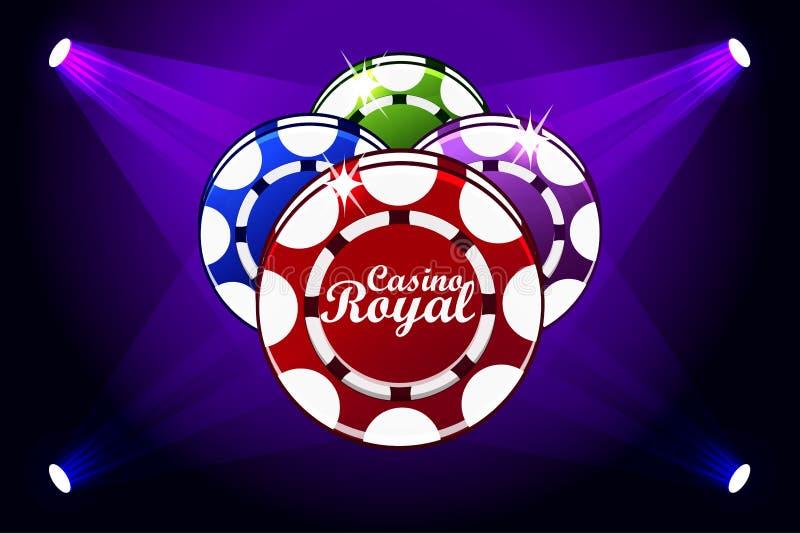 Bandera de Casino Royale con la iluminación del icono que juega microprocesadores Símbolos póker, icono y texto Ejemplo del vecto stock de ilustración