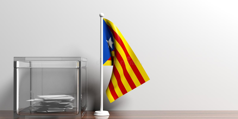 Bandera de Cataluña al lado de una urna de cristal en superficie de madera ilustración 3D stock de ilustración