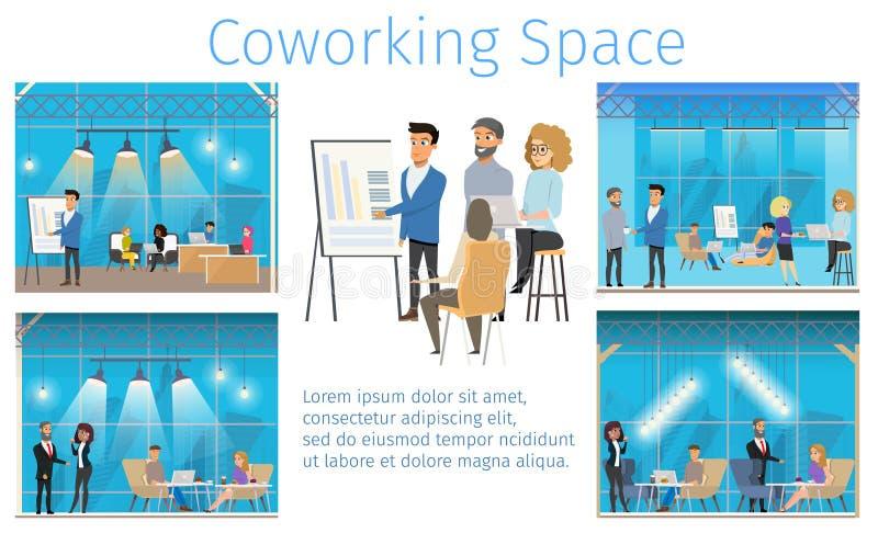 Bandera de centro cómoda moderna del servicio de Coworking libre illustration