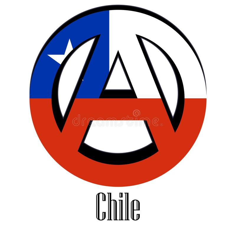 Bandera de Chile del mundo bajo la forma de muestra de la anarquía stock de ilustración