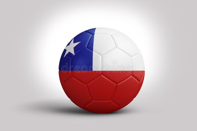 Bandera de Chile en la bola, representaci?n 3d Bal?n de f?tbol en el ejemplo 3d stock de ilustración