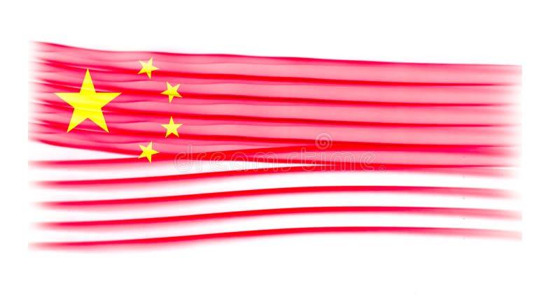 Bandera de China con textura del humo en el fondo blanco ilustración del vector