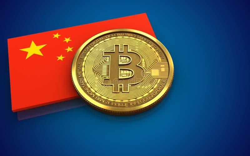 bandera de China del bitcoin 3d libre illustration