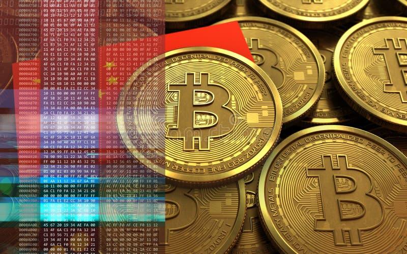 bandera de China del bitcoin 3d stock de ilustración