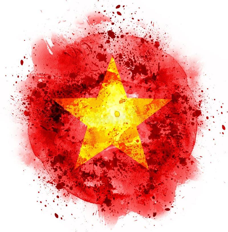 Bandera de China de la estrella de la acuarela imagenes de archivo