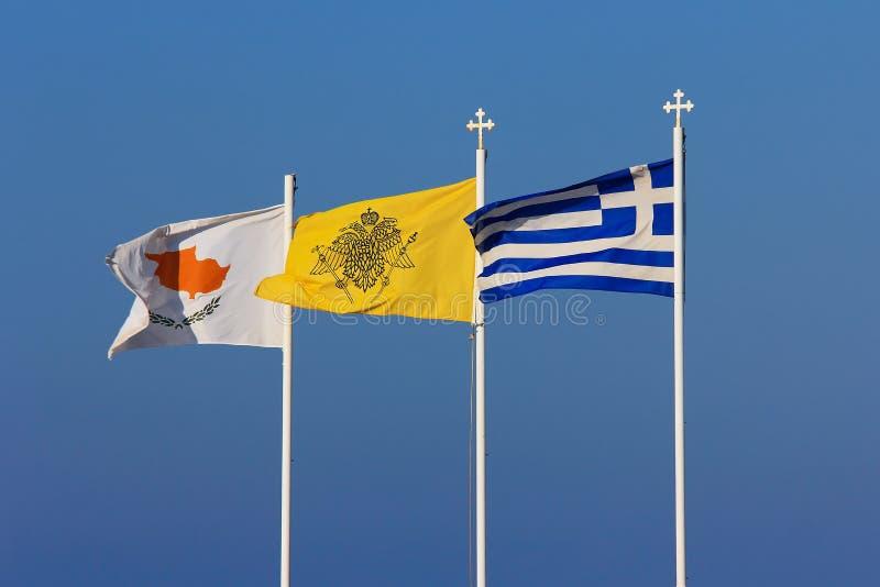 Bandera de Chipre, de Grecia y de la iglesia ortodoxa griega foto de archivo libre de regalías