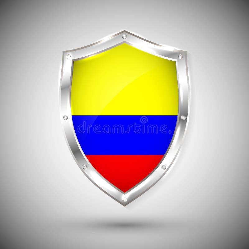 Escudo Con La Bandera De Colombia Ilustración Del Vector
