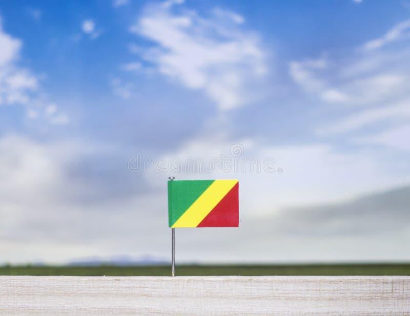 Bandera de Congo con el prado extenso y cielo azul detrás de él fotos de archivo libres de regalías