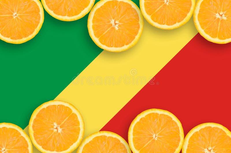 Bandera de Congo en marco horizontal de las rebanadas de los agrios imágenes de archivo libres de regalías