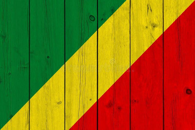 Bandera de Congo pintada en tablón de madera viejo imágenes de archivo libres de regalías