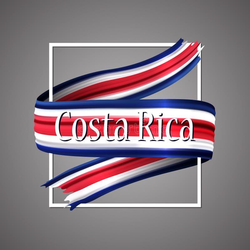 Bandera de Costa Rica Colores nacionales oficiales Cinta realista de Costa Rica 3d Muestra patriótica de la raya de la bandera de stock de ilustración