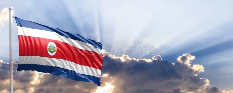 Bandera de Costa Rica en el cielo azul ilustración 3D ilustración del vector