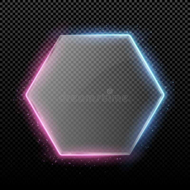 Bandera de cristal hexagonal transparente con las luces de la púrpura y de la retroiluminación azul y el brillar intensamente Luc stock de ilustración