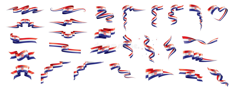 Bandera de Croacia, ejemplo del vector en un fondo blanco stock de ilustración