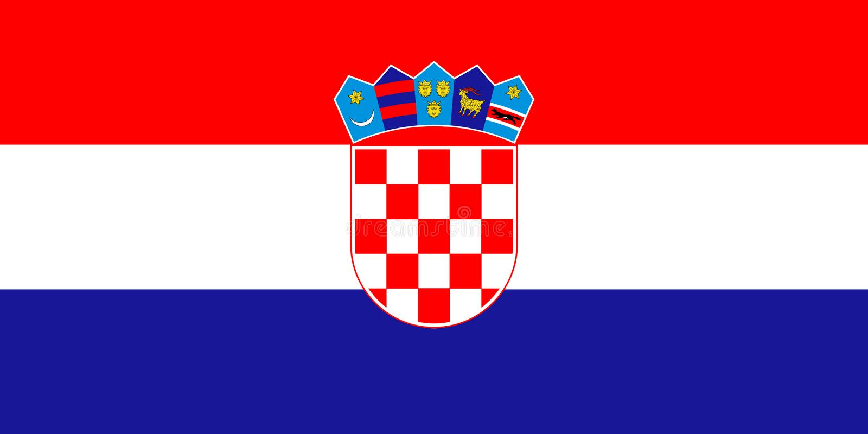 Bandera de Croacia en colores oficiales y con la relación de aspecto de 1:2 stock de ilustración