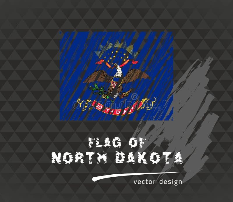 Bandera de Dakota del Norte, ejemplo dibujado mano del bosquejo del vector en fondo oscuro del grunge stock de ilustración