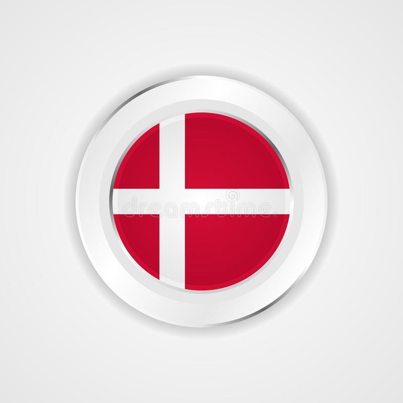 Bandera de Dinamarca en icono brillante stock de ilustración