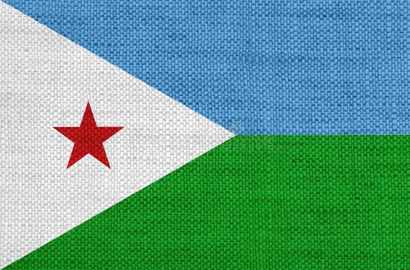 Bandera de Djibouti en el lino viejo fotografía de archivo