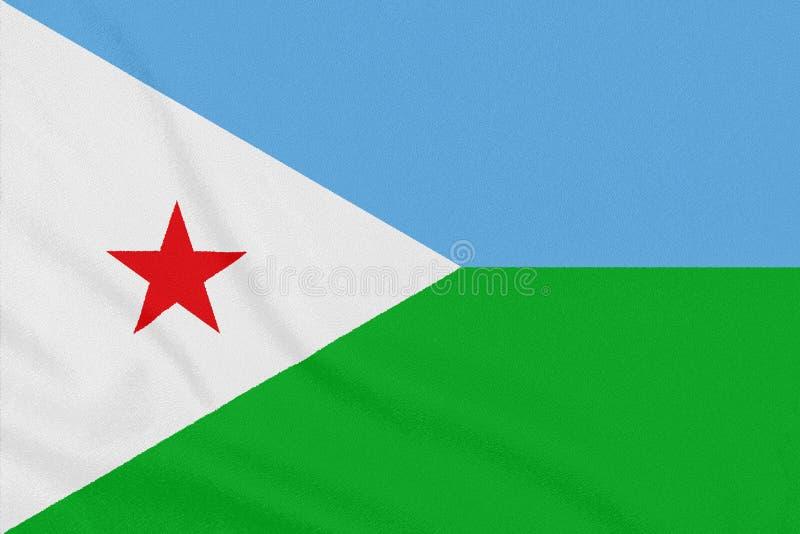 Bandera de Djibouti en tela texturizada S?mbolo patri?tico imagenes de archivo